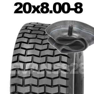20x8.00-8 TYRE & TUBE SET FOR RIDE ON LAWN MOWERS 20 8.00 8 .